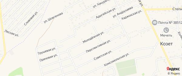 Молодежная улица на карте аула Козет с номерами домов