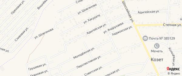 Улица Андрухаева на карте аула Козет с номерами домов