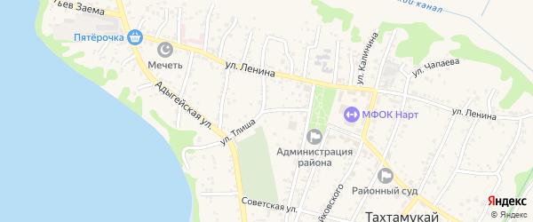 Улица Тлиша на карте аула Тахтамукая с номерами домов
