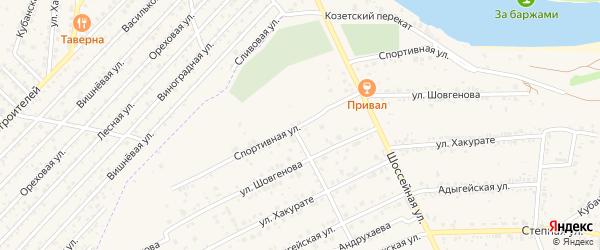 Спортивная улица на карте аула Козет с номерами домов