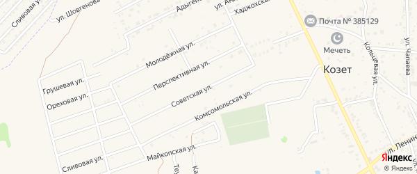 Советская улица на карте аула Козет с номерами домов