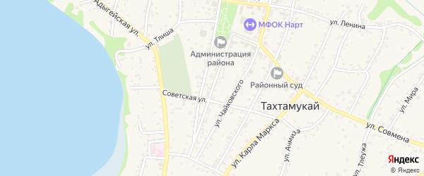 Улица Гагарина на карте аула Тахтамукая с номерами домов