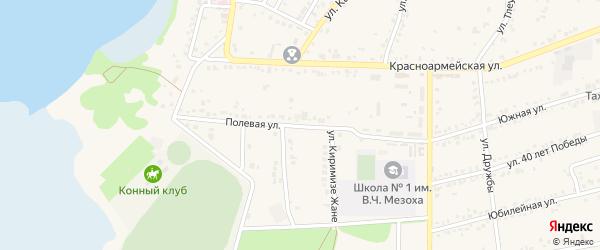 Полевая улица на карте аула Тахтамукая с номерами домов