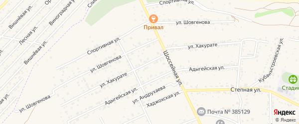Улица Хакурате на карте аула Козет с номерами домов