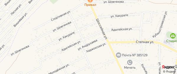 Адыгейская улица на карте аула Козет с номерами домов