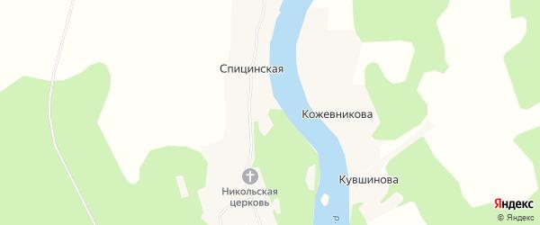 Карта деревни Кожевникова в Архангельской области с улицами и номерами домов