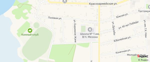 Улица К.Жане на карте аула Тахтамукая с номерами домов