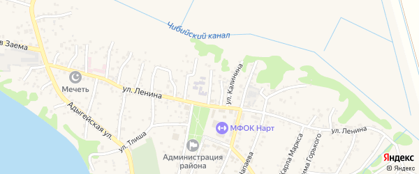 Школьная улица на карте аула Тахтамукая с номерами домов