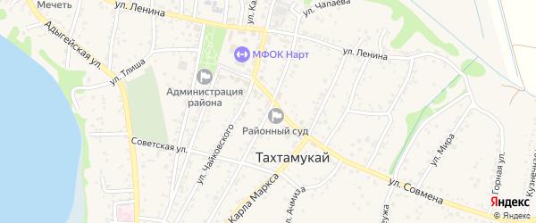 Улица Чапаева на карте аула Тахтамукая с номерами домов