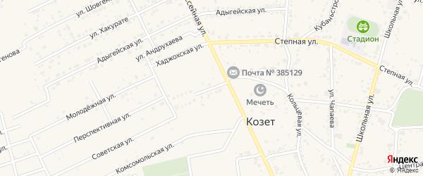 Солнечная улица на карте аула Козет с номерами домов