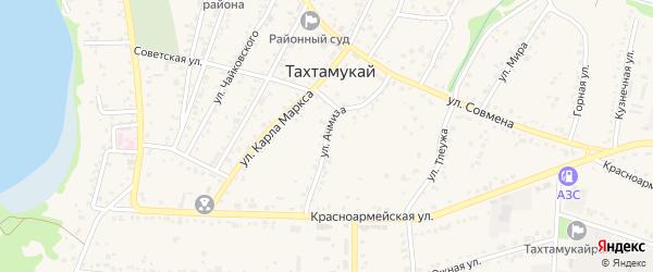 Улица М.Ачмиза на карте аула Тахтамукая с номерами домов