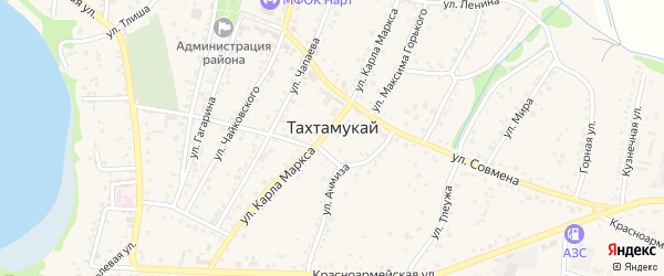 Светлая улица на карте аула Тахтамукая с номерами домов