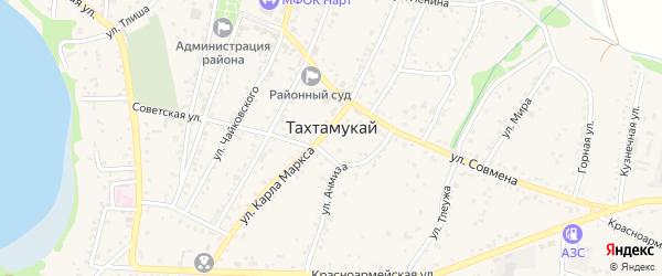 Улица 8 Марта на карте аула Тахтамукая с номерами домов