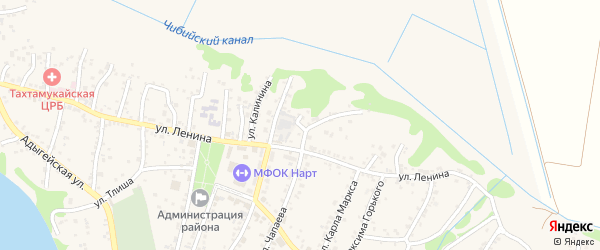 Чапаева 1-й переулок на карте аула Тахтамукая с номерами домов