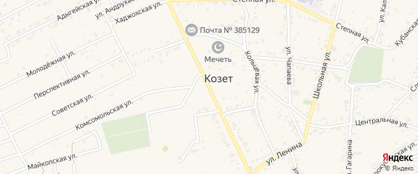 Шоссейная улица на карте аула Козет с номерами домов