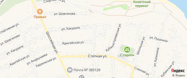 Кубаньстроевская улица на карте аула Козет с номерами домов