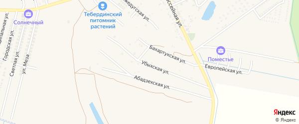 Убыхская улица на карте аула Тахтамукая с номерами домов