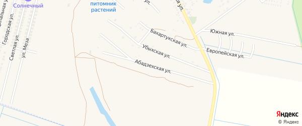 Абадзехская улица на карте аула Козет с номерами домов