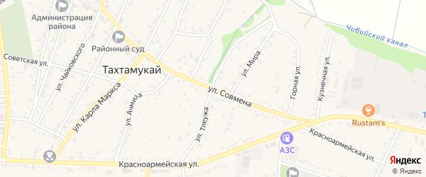 Улица Л.Тлеужа на карте аула Тахтамукая с номерами домов