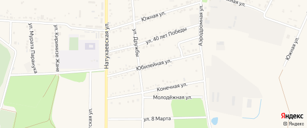 Юбилейная улица на карте аула Тахтамукая с номерами домов