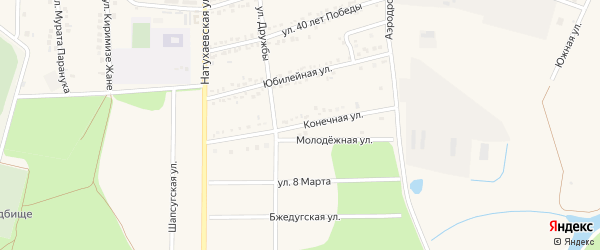 Конечная улица на карте аула Тахтамукая с номерами домов