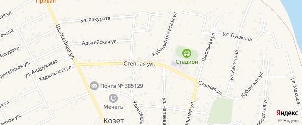 Степная улица на карте аула Козет с номерами домов