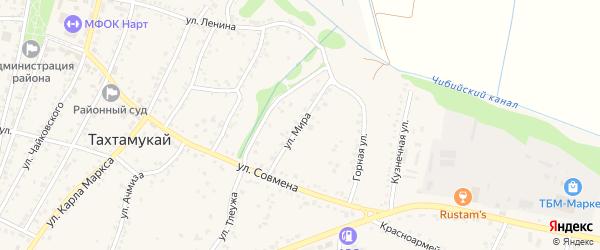 Улица Мира на карте аула Тахтамукая с номерами домов