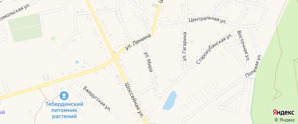 Улица Мира на карте аула Козет с номерами домов