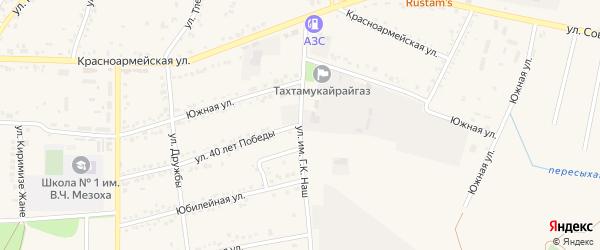 Аэродромная улица на карте аула Тахтамукая с номерами домов