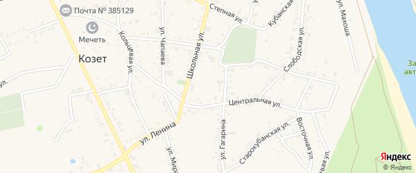 Мирная улица на карте аула Козет с номерами домов