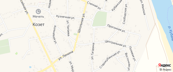 Лунная улица на карте аула Козет с номерами домов