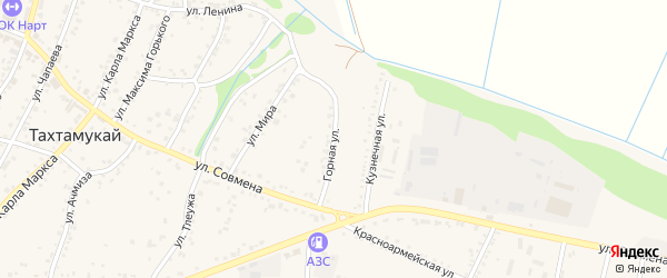 Горная улица на карте аула Тахтамукая с номерами домов