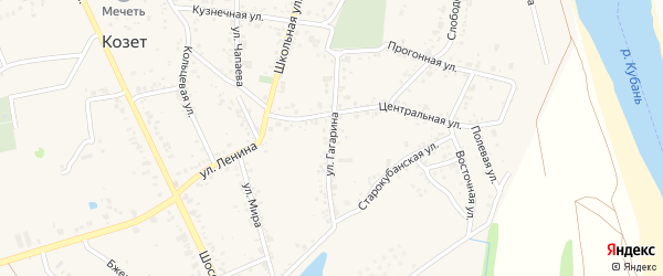 Улица Гагарина на карте аула Козет с номерами домов