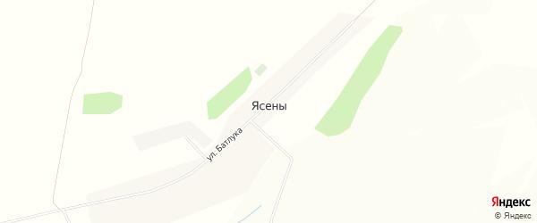 Карта села Ясены в Белгородской области с улицами и номерами домов