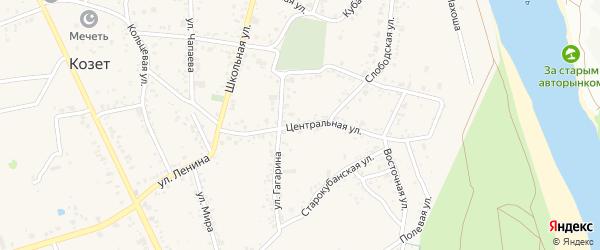 Центральная улица на карте аула Козет с номерами домов