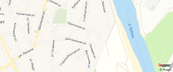 Восточный переулок на карте аула Козет с номерами домов