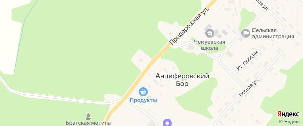 Придорожная улица на карте деревни Анциферовского Бора с номерами домов