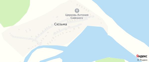 Пабережная улица на карте деревни Сюзьмы с номерами домов