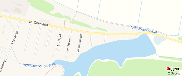 Улица Б.Хаджемукова на карте аула Тахтамукая с номерами домов