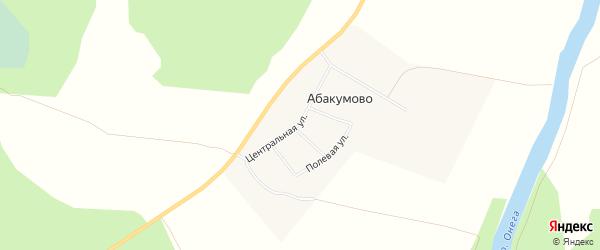 Карта деревни Абакумово в Архангельской области с улицами и номерами домов