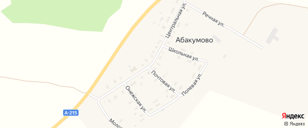 Речная улица на карте деревни Абакумово с номерами домов