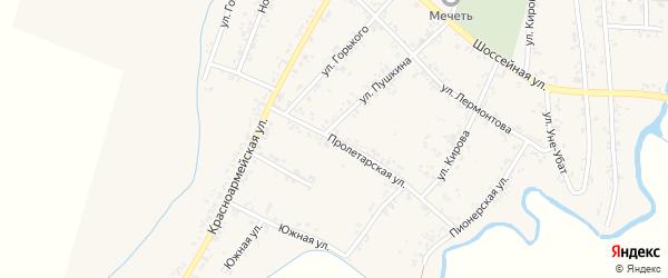 Пролетарская улица на карте Шенджий аула с номерами домов