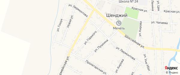 Улица Горького на карте Шенджий аула с номерами домов