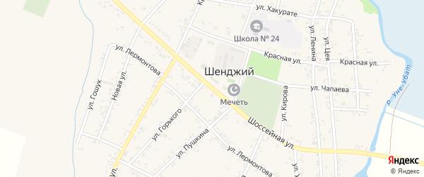 Шоссейная улица на карте Шенджий аула с номерами домов