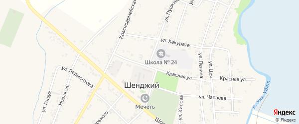 Улица Пушкина на карте Шенджий аула с номерами домов