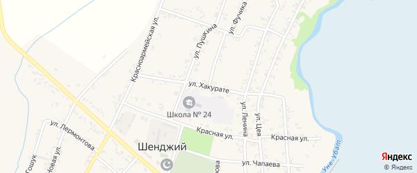 Улица Хакурате на карте Шенджий аула с номерами домов