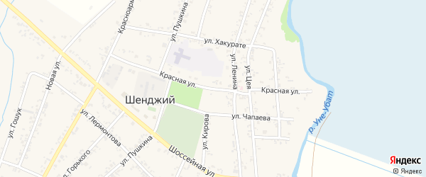 Красная улица на карте Шенджий аула с номерами домов