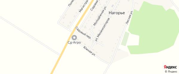 Садовый переулок на карте села Нагорья с номерами домов