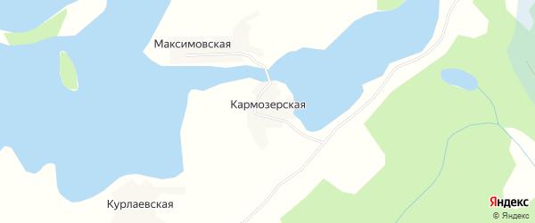 Карта Кармозерской деревни в Архангельской области с улицами и номерами домов