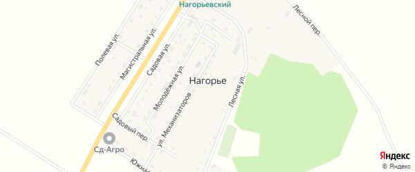 Лесной переулок на карте села Нагорья с номерами домов